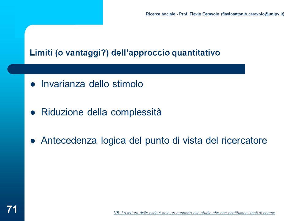 Limiti (o vantaggi ) dell'approccio quantitativo