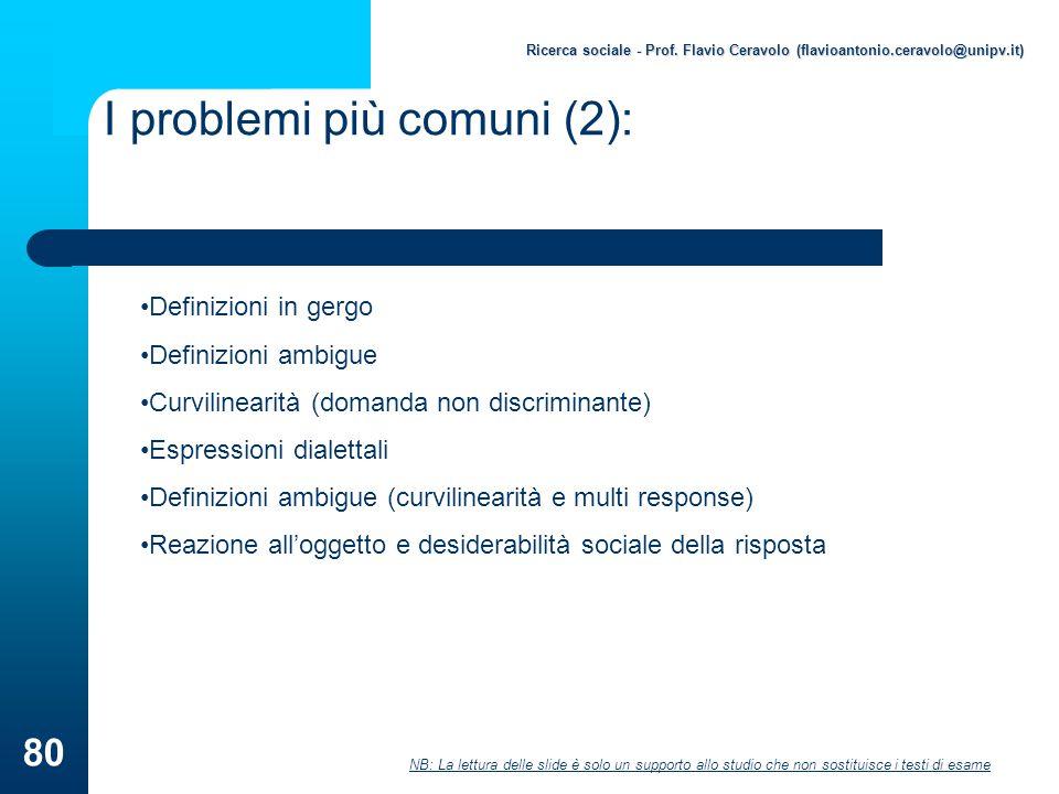 I problemi più comuni (2):