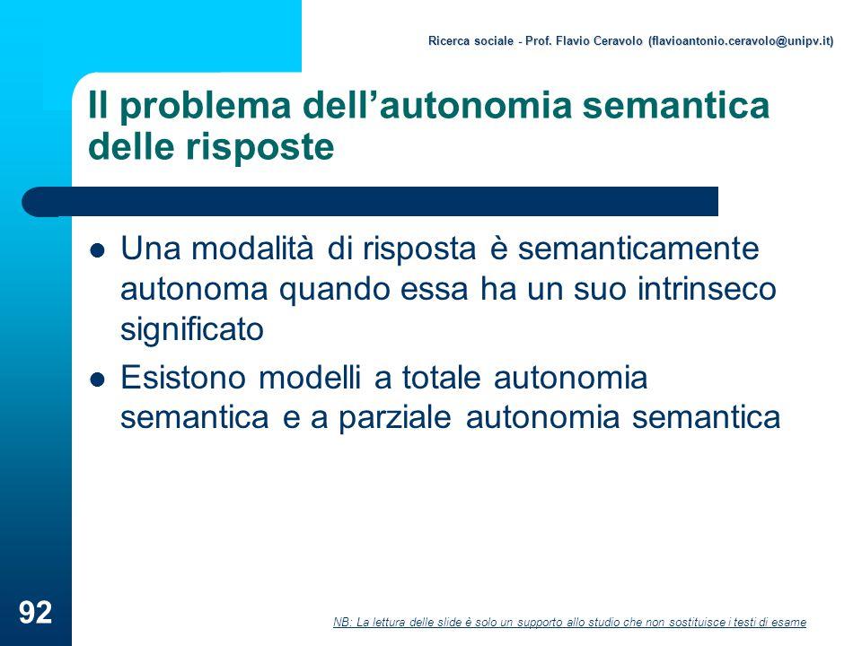 Il problema dell'autonomia semantica delle risposte