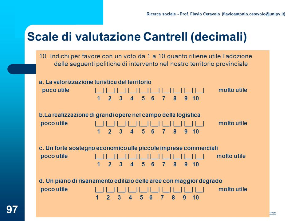 Scale di valutazione Cantrell (decimali)