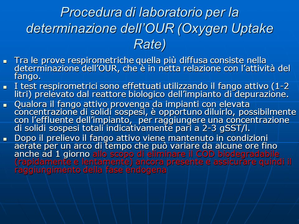 Procedura di laboratorio per la determinazione dell'OUR (Oxygen Uptake Rate)