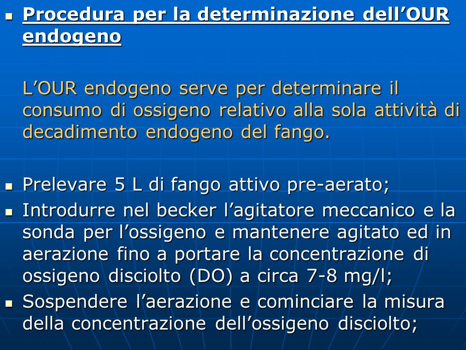 Procedura per la determinazione dell'OUR endogeno