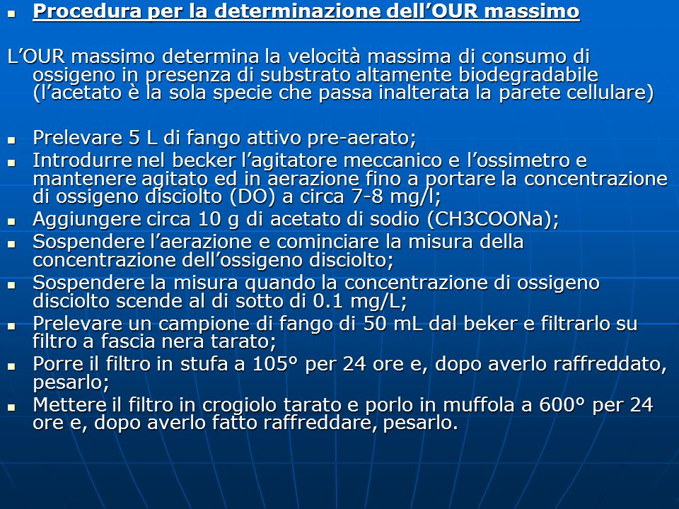 Procedura per la determinazione dell'OUR massimo