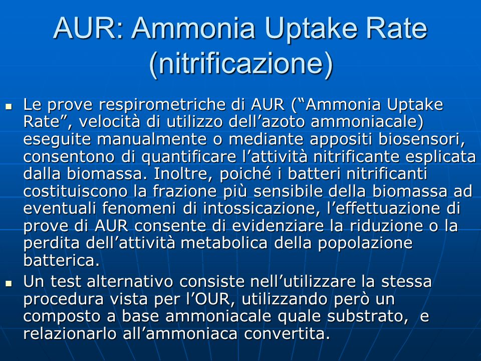 AUR: Ammonia Uptake Rate (nitrificazione)