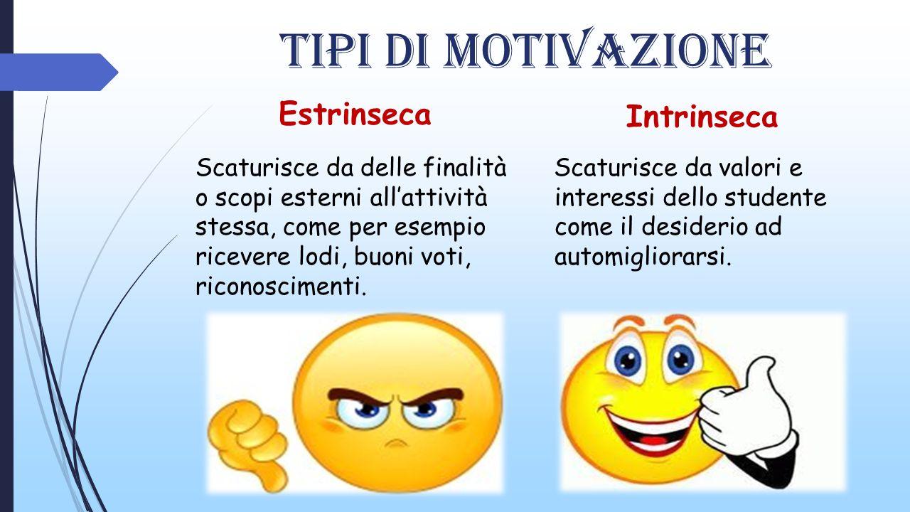 Tipi di motivazione Estrinseca Intrinseca