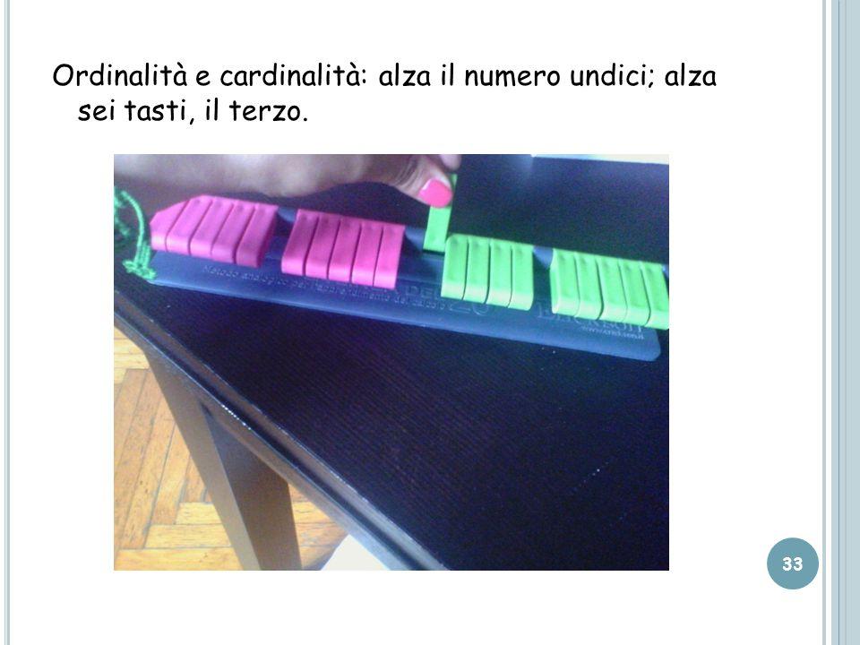 Ordinalità e cardinalità: alza il numero undici; alza sei tasti, il terzo.