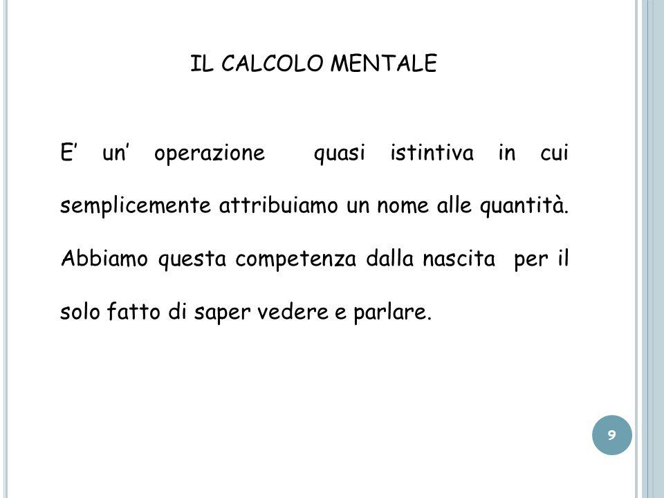 IL CALCOLO MENTALE