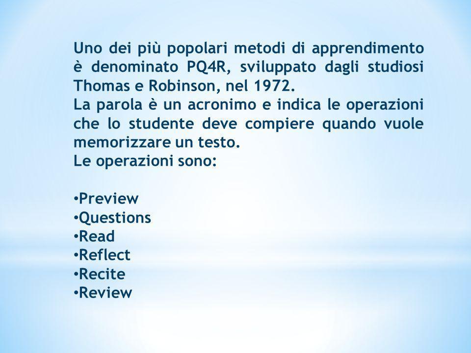 Uno dei più popolari metodi di apprendimento è denominato PQ4R, sviluppato dagli studiosi Thomas e Robinson, nel 1972.
