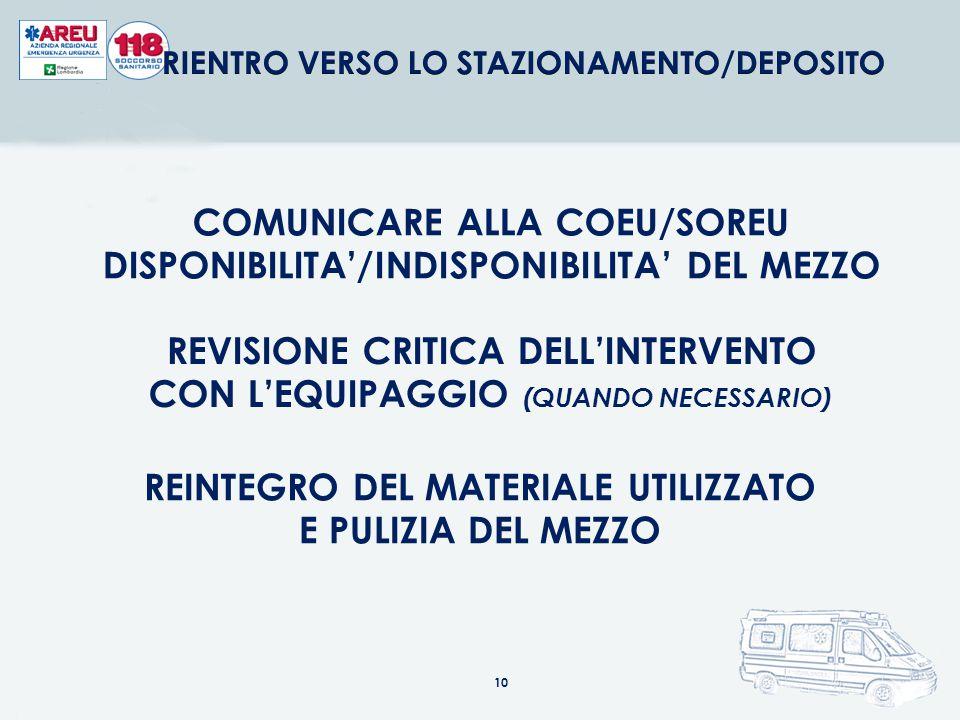 COMUNICARE ALLA COEU/SOREU DISPONIBILITA'/INDISPONIBILITA' DEL MEZZO