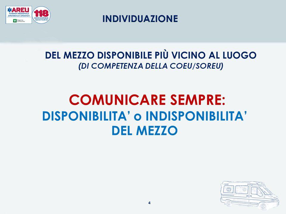 COMUNICARE SEMPRE: DISPONIBILITA' o INDISPONIBILITA' DEL MEZZO