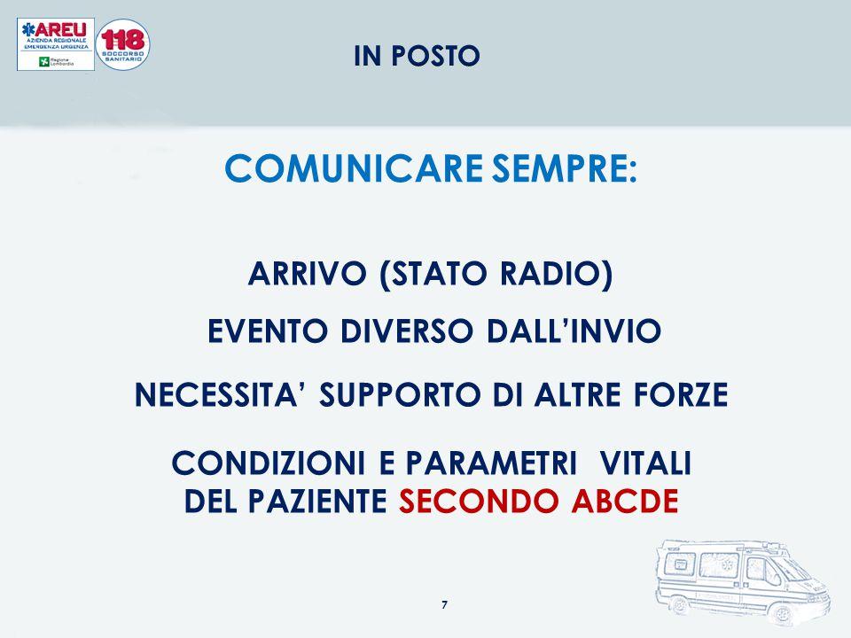 COMUNICARE SEMPRE: ARRIVO (STATO RADIO) EVENTO DIVERSO DALL'INVIO
