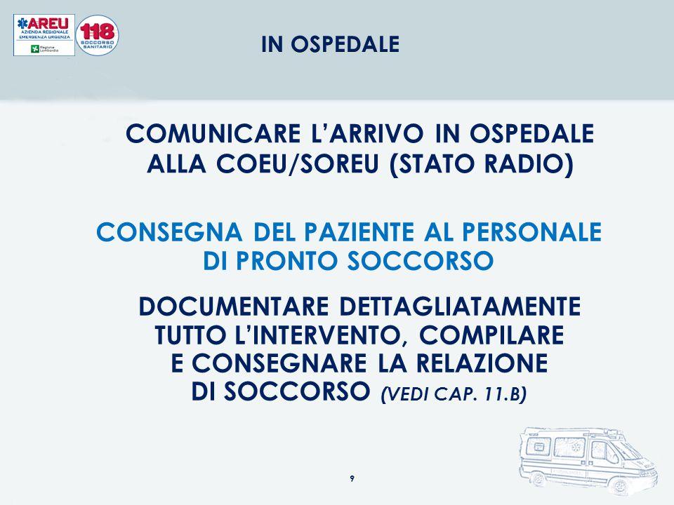 COMUNICARE L'ARRIVO IN OSPEDALE ALLA COEU/SOREU (STATO RADIO)