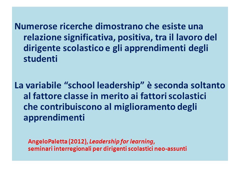 Numerose ricerche dimostrano che esiste una relazione significativa, positiva, tra il lavoro del dirigente scolastico e gli apprendimenti degli studenti