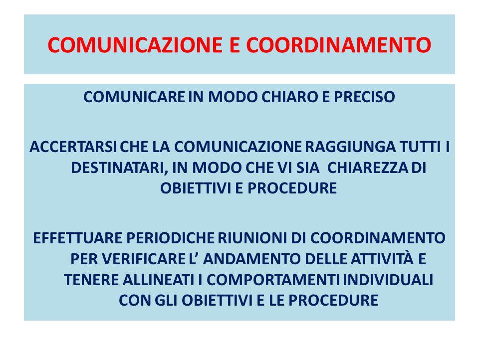 COMUNICAZIONE E COORDINAMENTO
