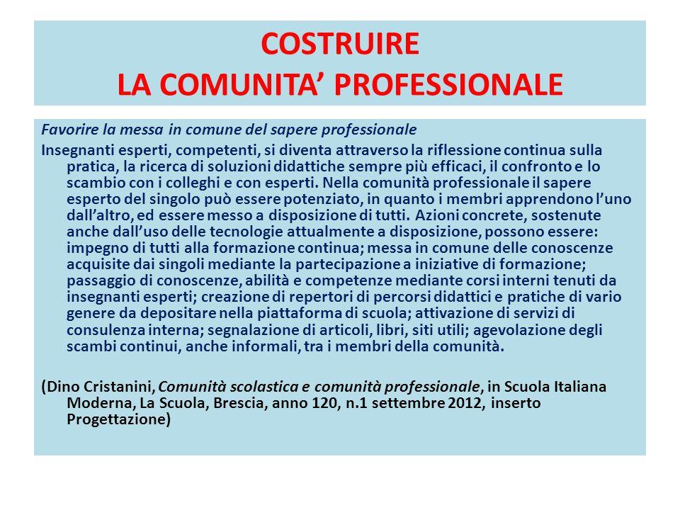 COSTRUIRE LA COMUNITA' PROFESSIONALE