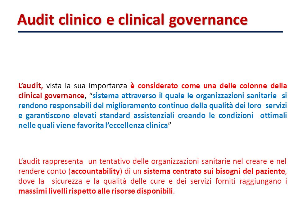 Audit clinico e clinical governance