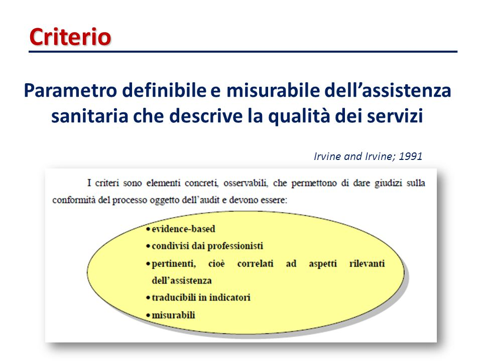 Criterio Parametro definibile e misurabile dell'assistenza sanitaria che descrive la qualità dei servizi.