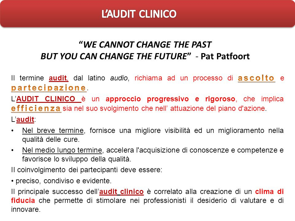 L'AUDIT CLINICO 20/09/11. WE CANNOT CHANGE THE PAST BUT YOU CAN CHANGE THE FUTURE - Pat Patfoort.