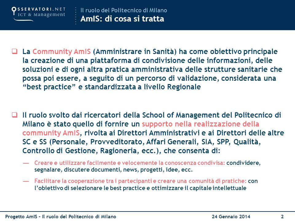Il ruolo del Politecnico di Milano AmIS: di cosa si tratta