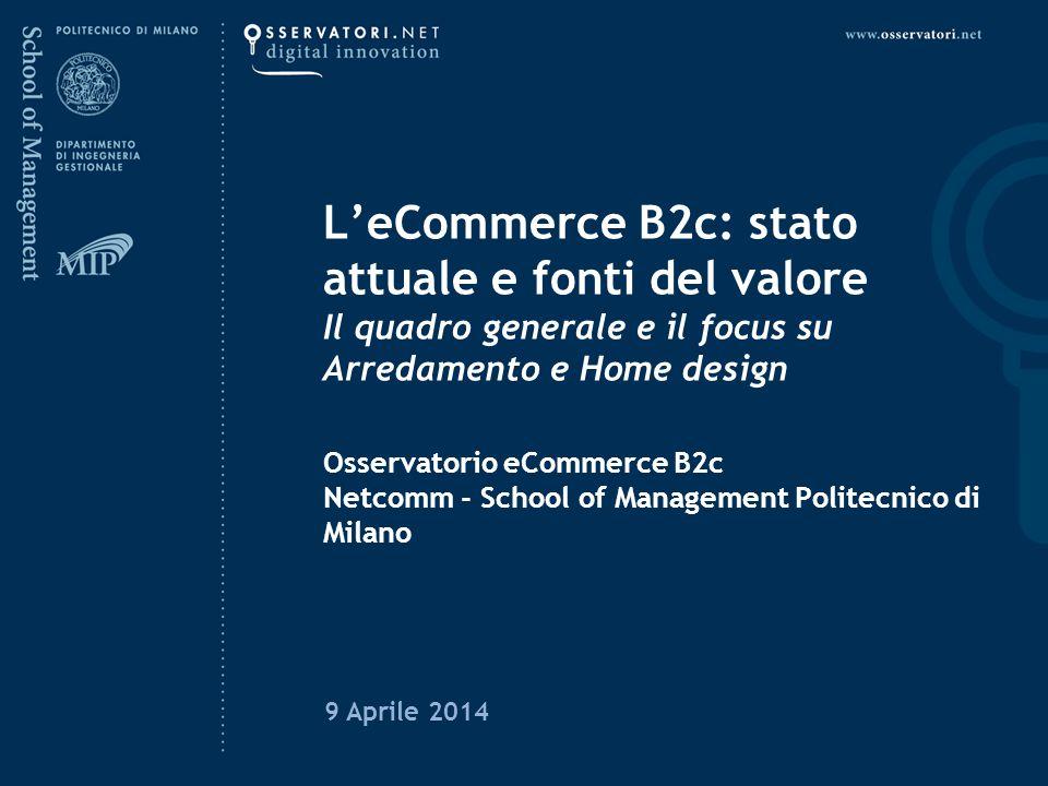 L'eCommerce B2c: stato attuale e fonti del valore Il quadro generale e il focus su Arredamento e Home design Osservatorio eCommerce B2c Netcomm - School of Management Politecnico di Milano