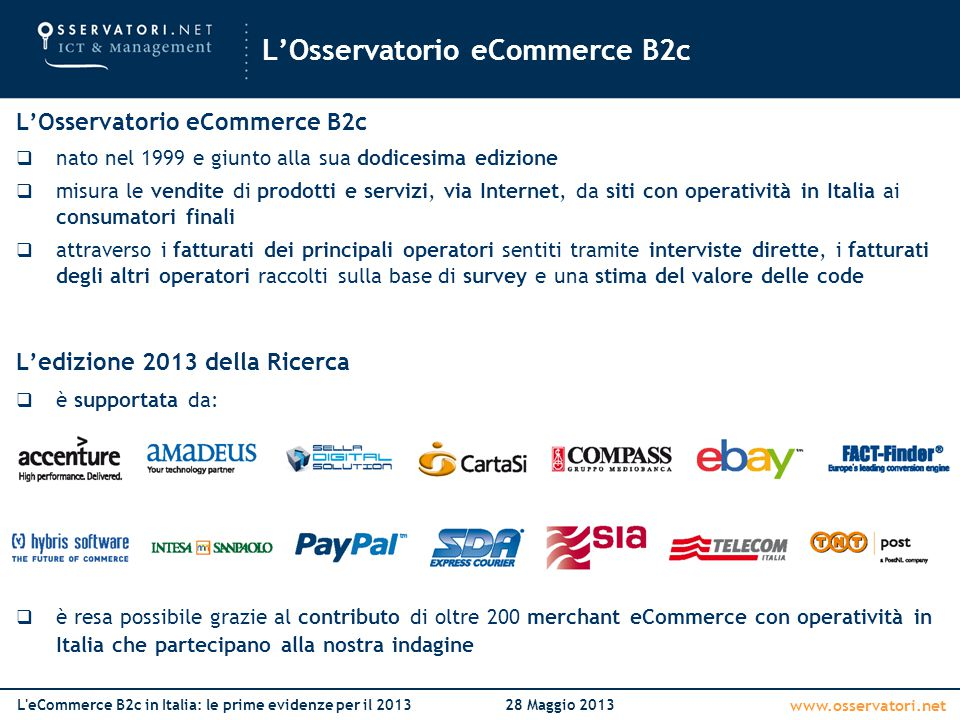 L'Osservatorio eCommerce B2c