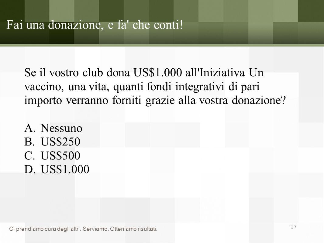 Fai una donazione, e fa che conti!