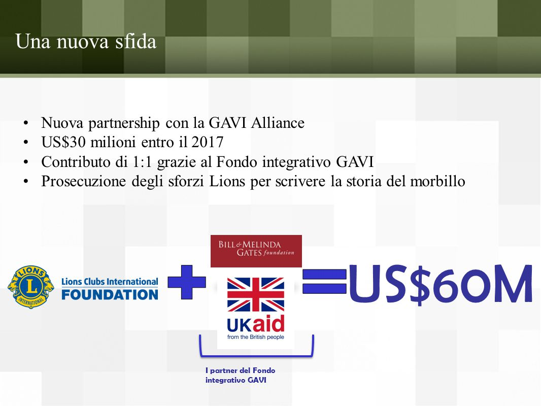 US$60M Una nuova sfida Nuova partnership con la GAVI Alliance