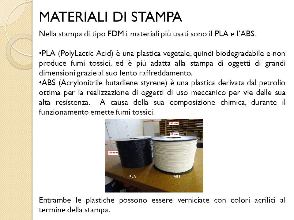 MATERIALI DI STAMPA Nella stampa di tipo FDM i materiali più usati sono il PLA e l'ABS.