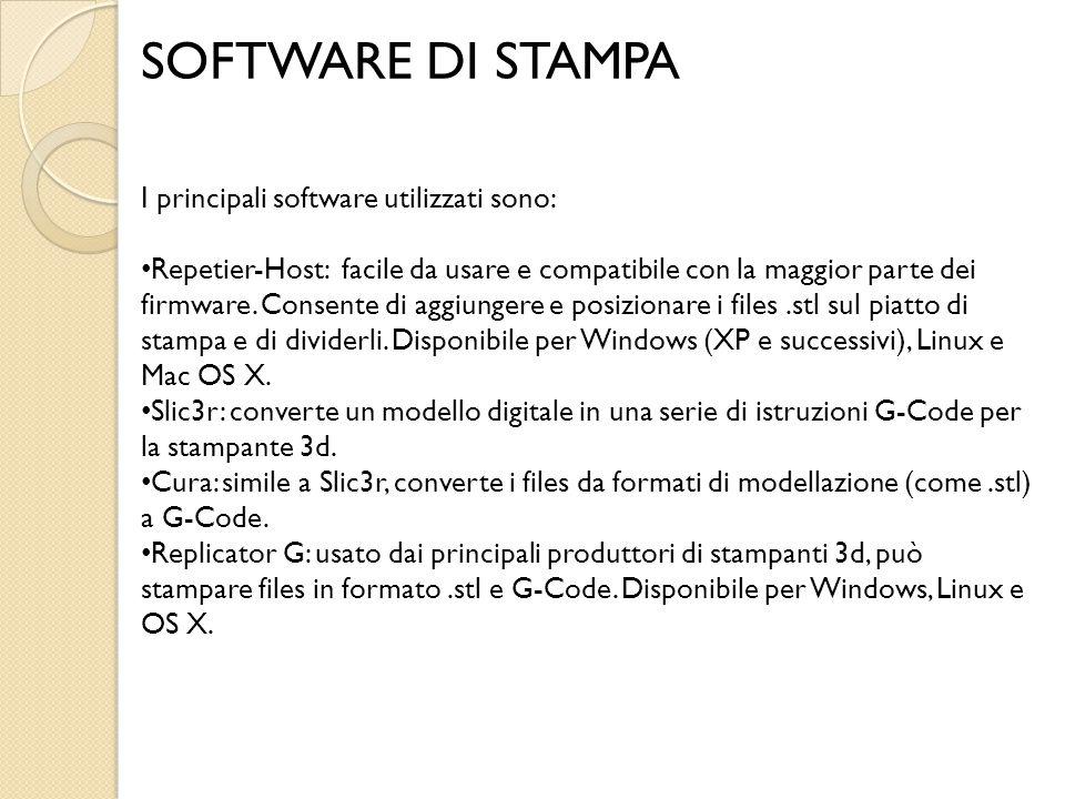SOFTWARE DI STAMPA I principali software utilizzati sono: