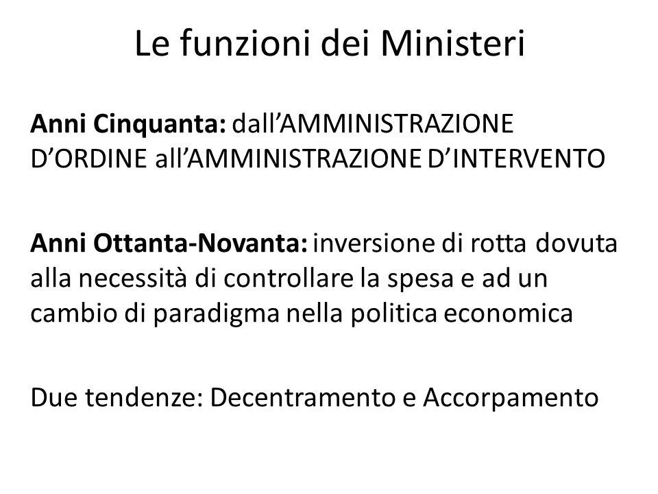 Le funzioni dei Ministeri