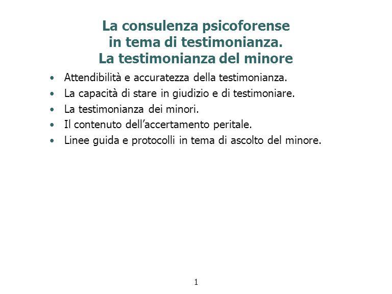 La consulenza psicoforense in tema di testimonianza