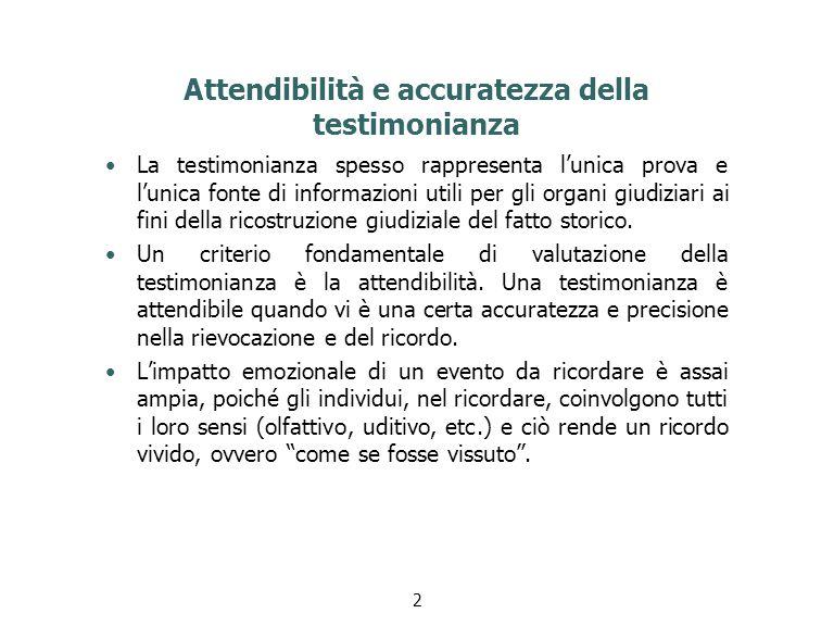Attendibilità e accuratezza della testimonianza