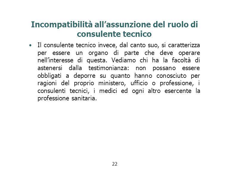 Incompatibilità all'assunzione del ruolo di consulente tecnico