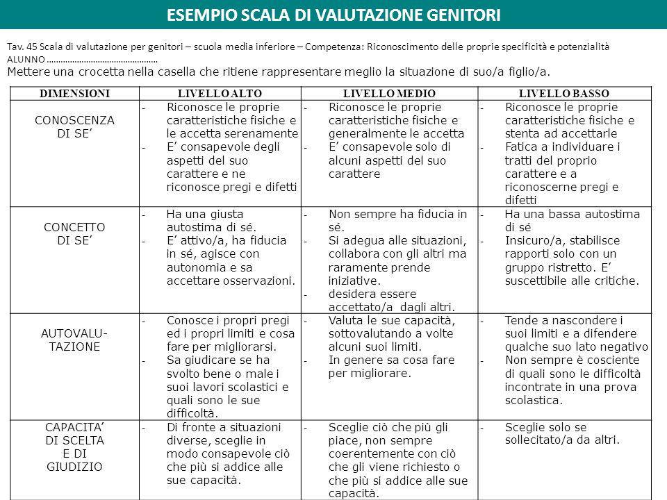 ESEMPIO SCALA DI VALUTAZIONE GENITORI