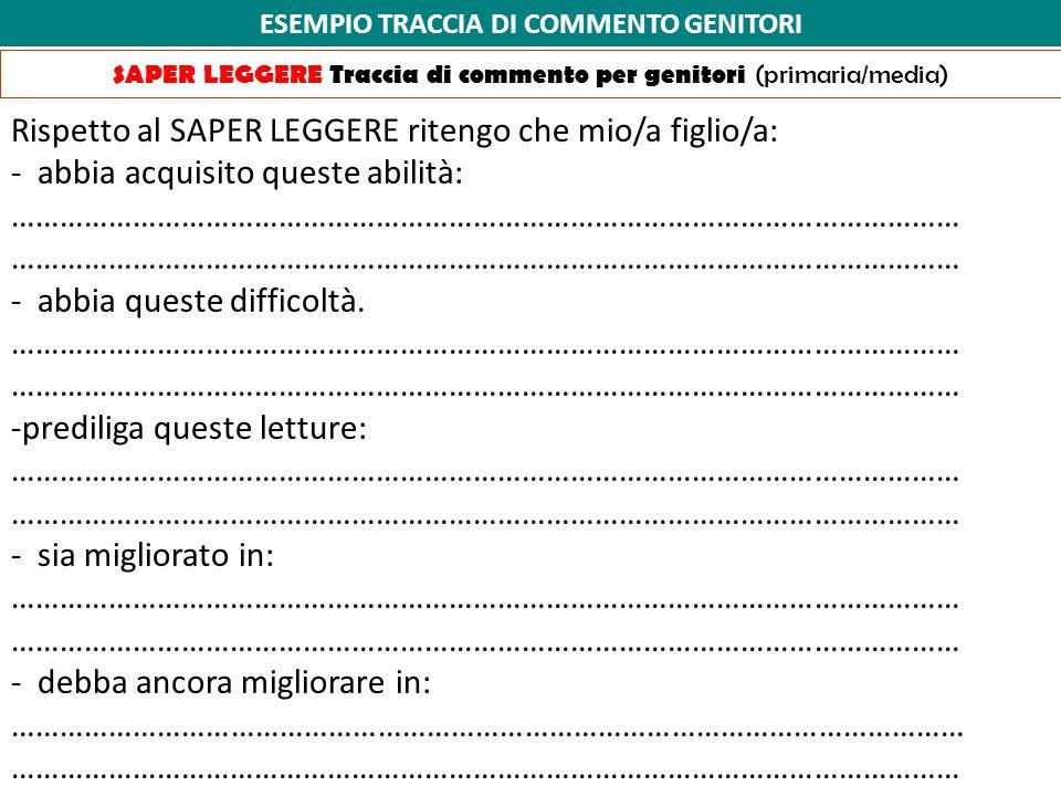ESEMPIO TRACCIA DI COMMENTO GENITORI