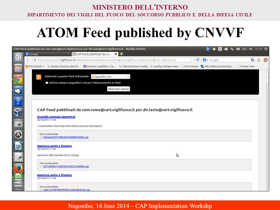 ATOM Feed published by CNVVF
