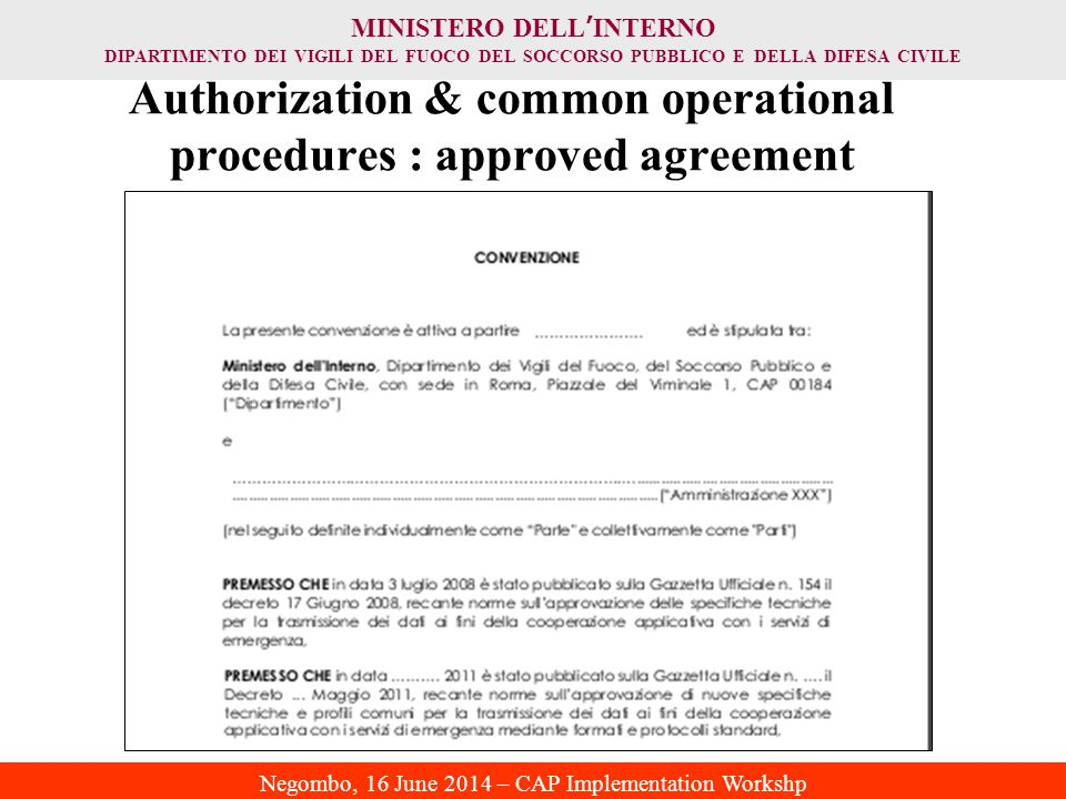 Authorization & common operational procedures : approved agreement