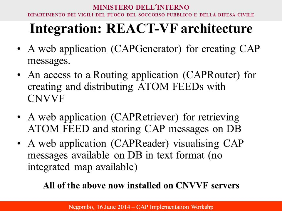 Integration: REACT-VF architecture