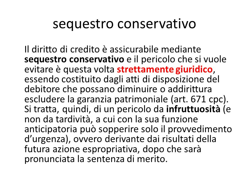 sequestro conservativo
