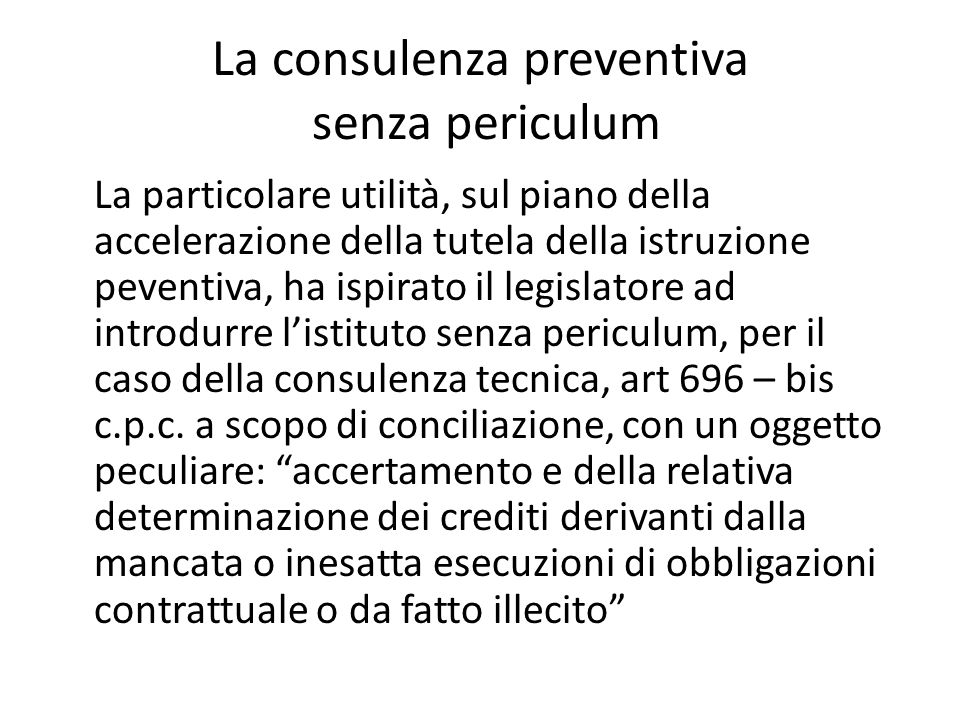 La consulenza preventiva senza periculum