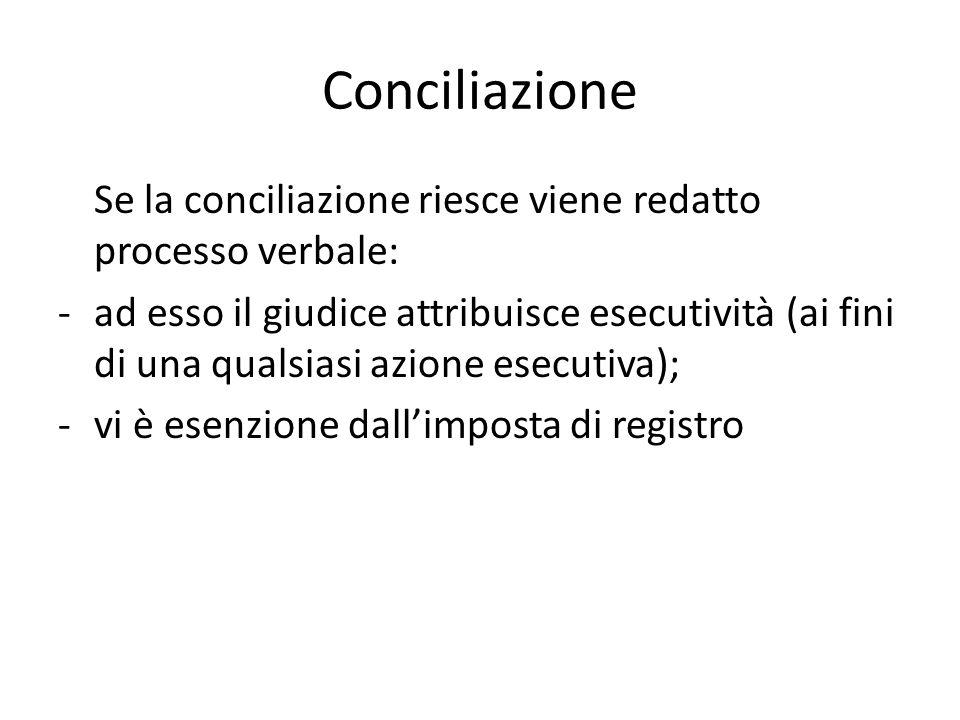 Conciliazione Se la conciliazione riesce viene redatto processo verbale: