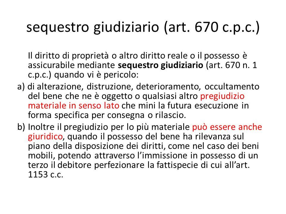 sequestro giudiziario (art. 670 c.p.c.)