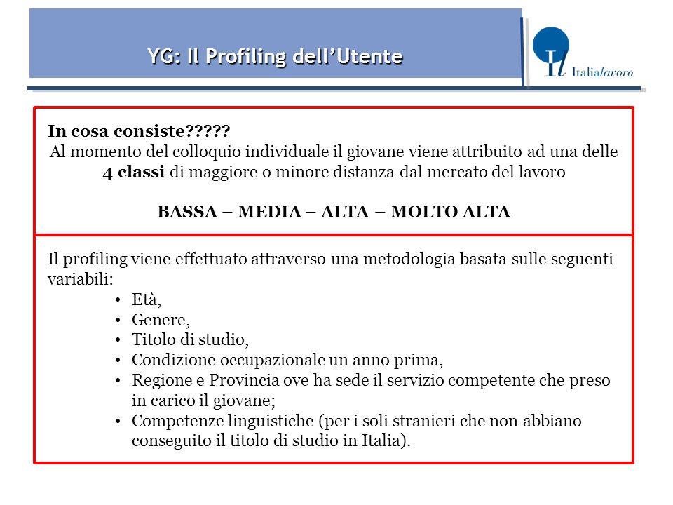 YG: Il Profiling dell'Utente BASSA – MEDIA – ALTA – MOLTO ALTA
