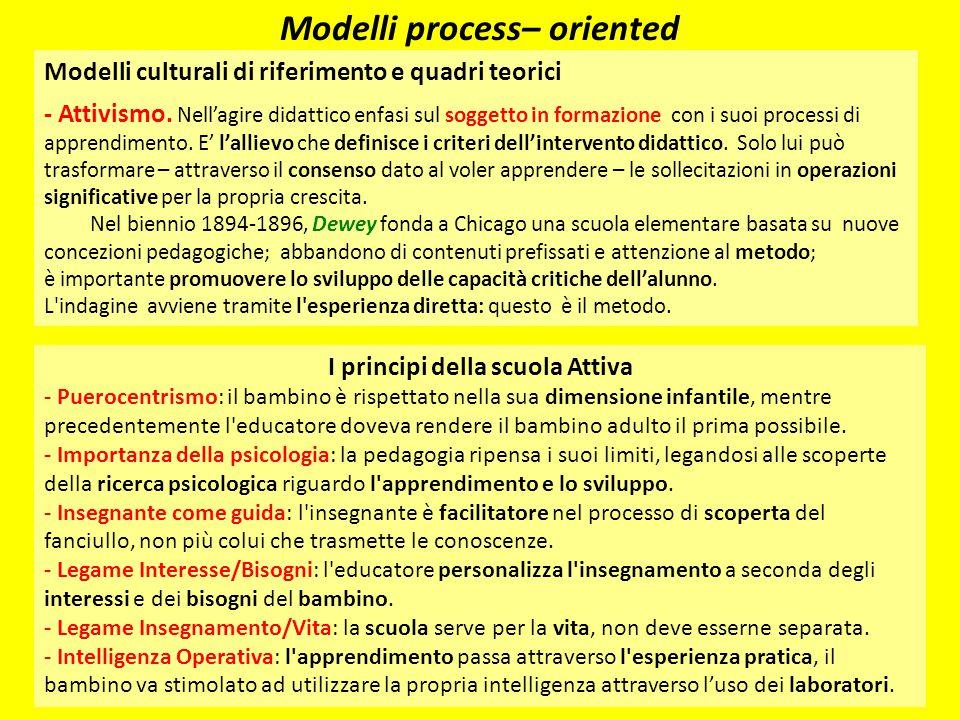 Modelli process– oriented I principi della scuola Attiva