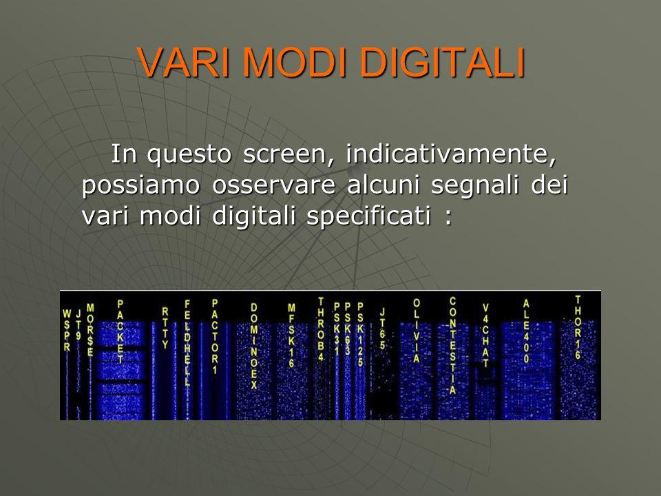VARI MODI DIGITALI In questo screen, indicativamente, possiamo osservare alcuni segnali dei vari modi digitali specificati :