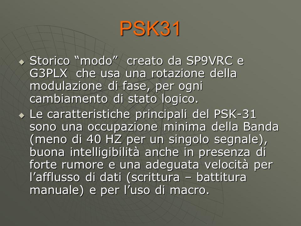PSK31 Storico modo creato da SP9VRC e G3PLX che usa una rotazione della modulazione di fase, per ogni cambiamento di stato logico.