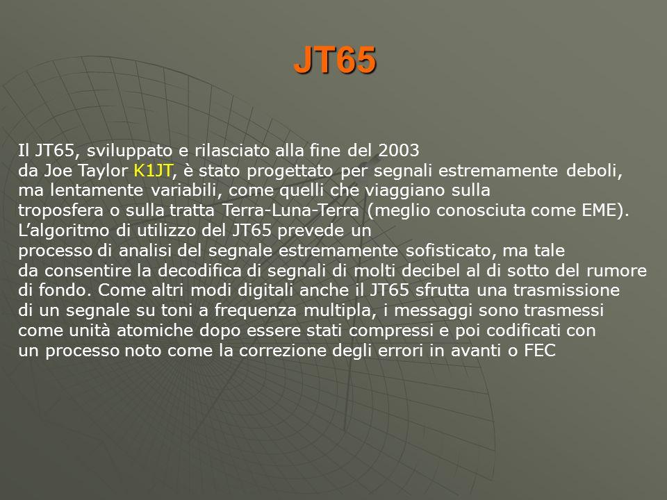 JT65 Il JT65, sviluppato e rilasciato alla fine del 2003