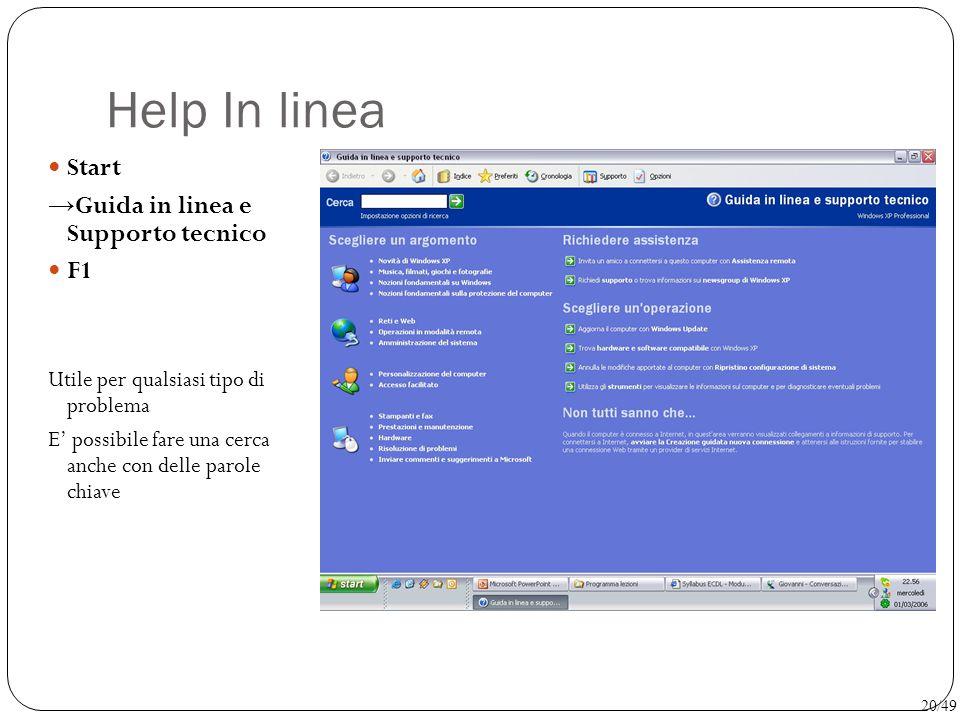 Help In linea Start →Guida in linea e Supporto tecnico F1