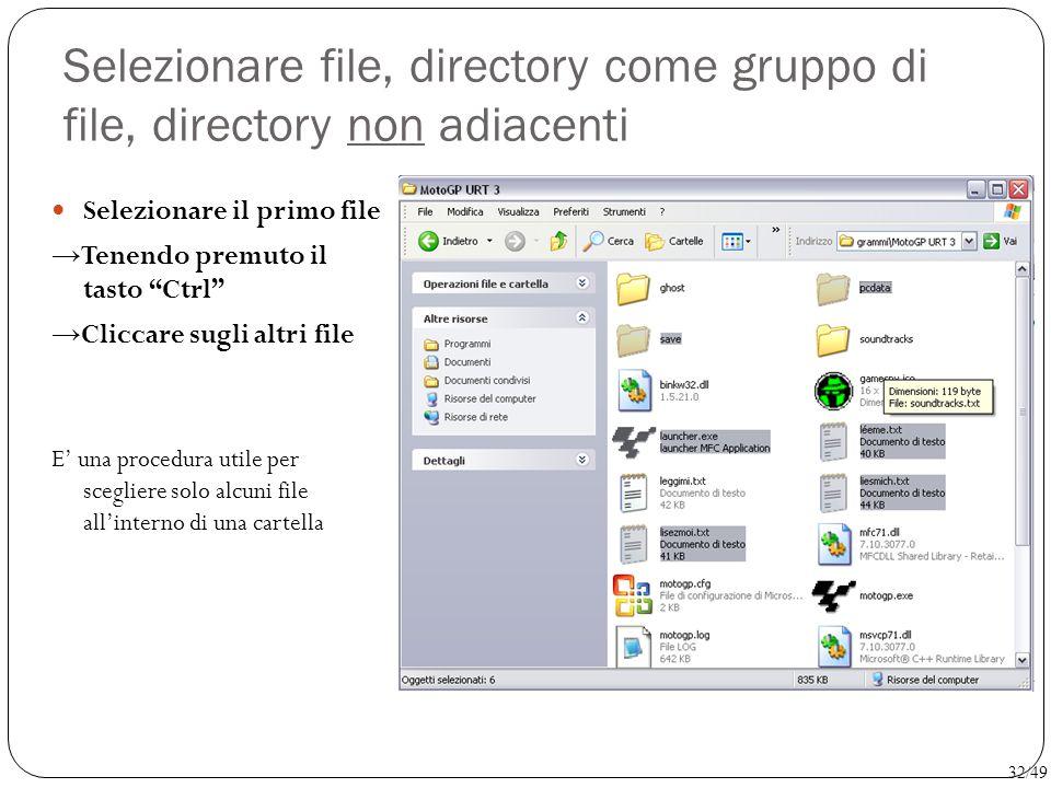 Selezionare file, directory come gruppo di file, directory non adiacenti
