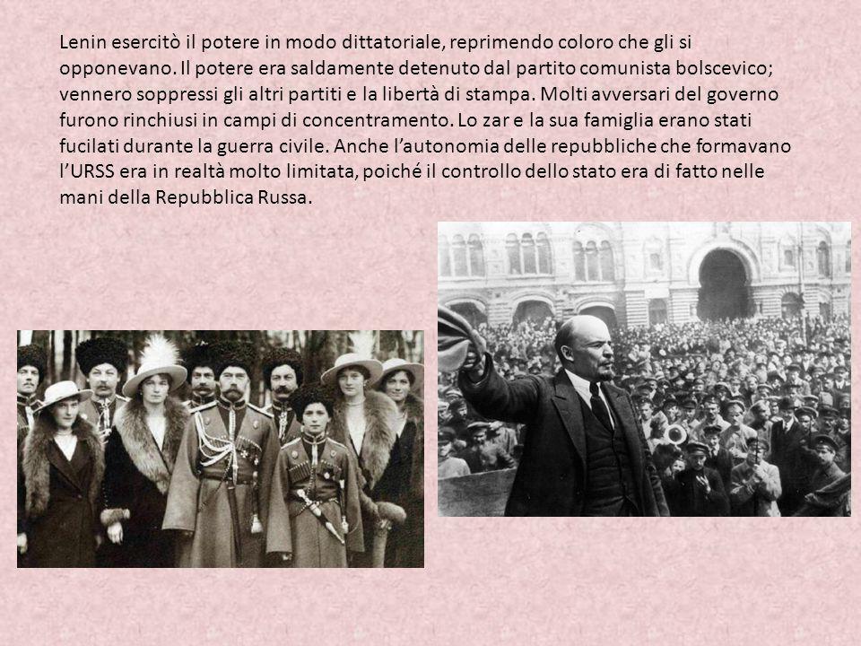 Lenin esercitò il potere in modo dittatoriale, reprimendo coloro che gli si opponevano.